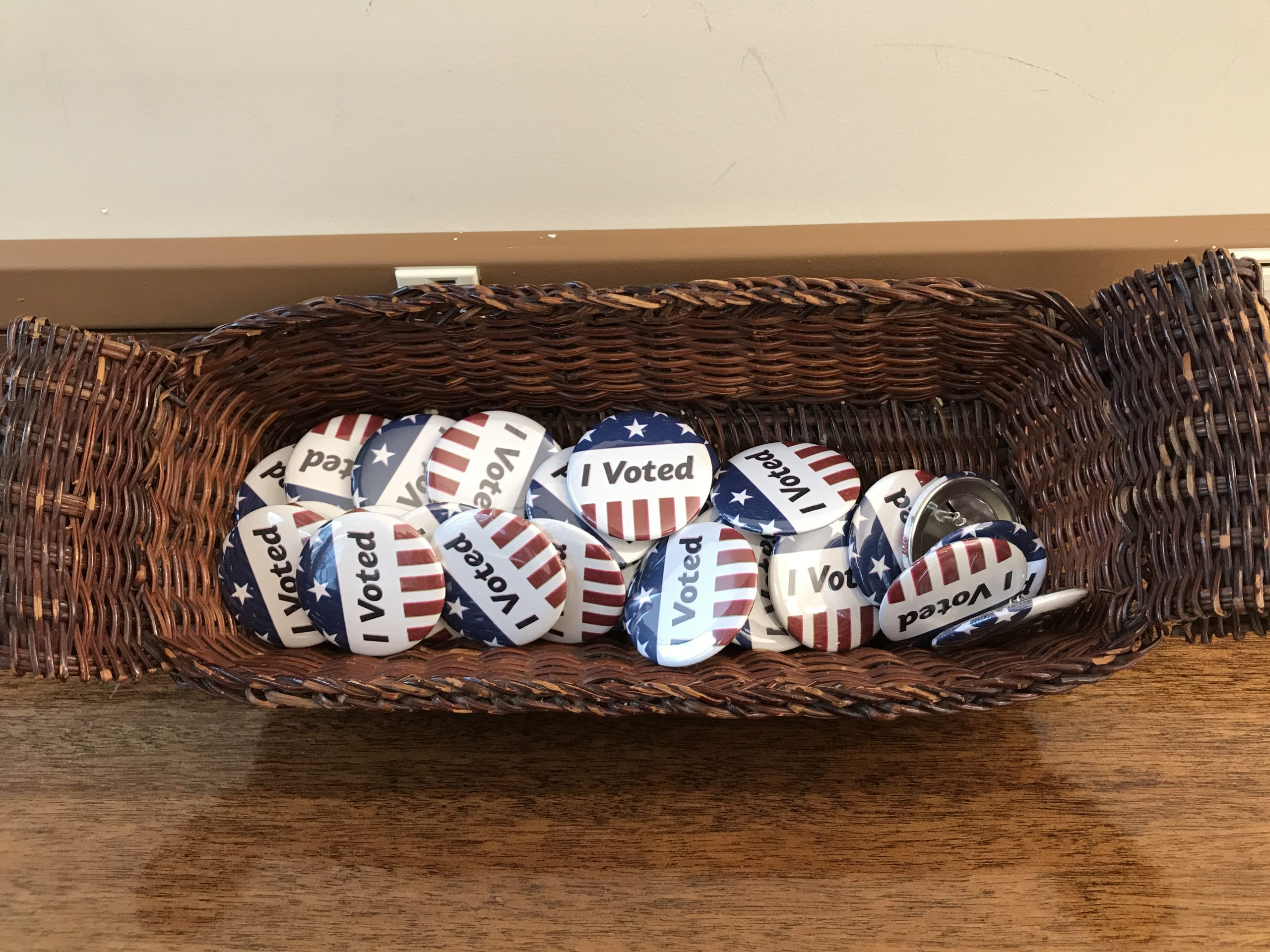 I Voted buttons made with our button maker.